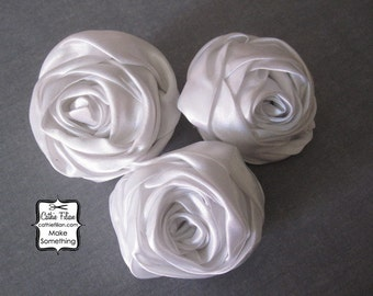 White Satin Fabric Flower - Rose - Millinery, Altered Couture, Hair Flowers, Pin