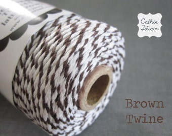Bakers Twine - Brown and White - 100 yards - cotton cording gift wraping scrapbooking