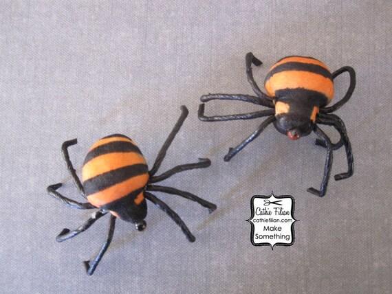 Halloween Spiders - 2 inches - set of 2 - diorama, crepe paper, mushroom, fake, display, orange and black stripe