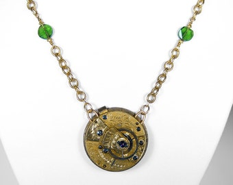 Steampunk Jewelry Necklace Womens Gold ENGLISH Pocket Watch 18th Century Peridot Wedding Fiancee Gift, Bridal Wife - Jewelry by edmdesigns