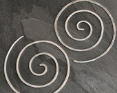 Spiral Earrings, Solid Sterling Silver, Size Large, Nautilus Swirl, Koru Spiral