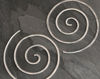 Spiral Earrings Solid Sterling Silver Size Large Nautilus Swirl Koru Spiral Handmade Clean Line Silver Earring Infinity Swirl Koru