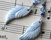 blue drop earrings with angel wings & crystals - handmade porcelain