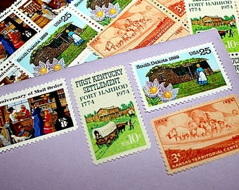PIONEER LIVING .. Unused Vintage US Postage Stamps .. Enough to mail 5 letters