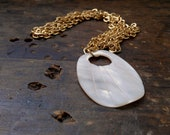 Vintage Mother of Pearl Carved Petal Flower  Pendant /Necklace // Repurposed/ Upcycled Necklace