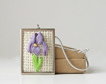 Purple iris necklace, embroidered jewelry, bearded iris pendant, botanical gardener's gift, silk ribbon embroidery, rectangular pendant