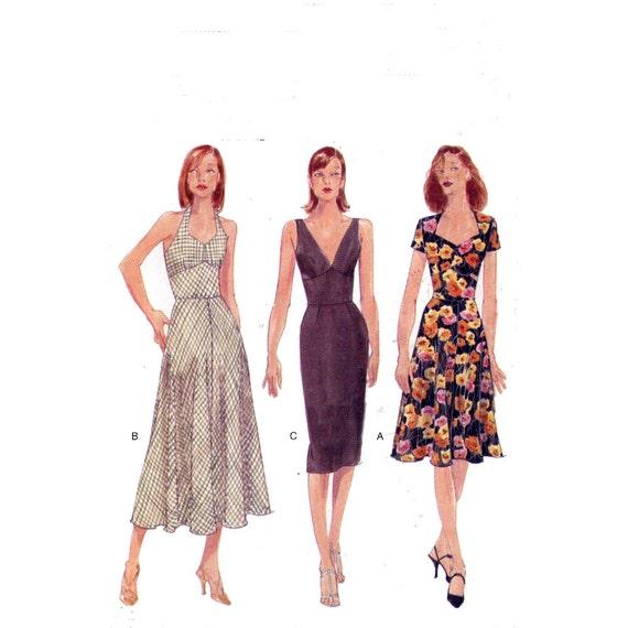 Summer cocktail dress pattern Halter dress sewing pattern Vogue 9668 Sz 12 to 16 dress pattern Summer style pattern