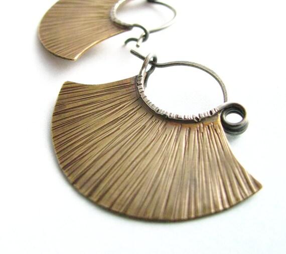 Tribal Earrings Sterling Silver And Brass Hoops Medium Mixed Metal  Earrings Metalwork Jewelry
