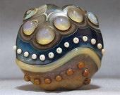 SRA Handmade Lampwork Bead Focal Glass Artisan Lentil OOAK AKDesigns Wicked Opal - AKDlampwork