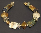 Handmade Lampwork Bead Set SRA Mixed Glass Beads AKDesigns Gold, Ivory, Green and Blue, Sumatra
