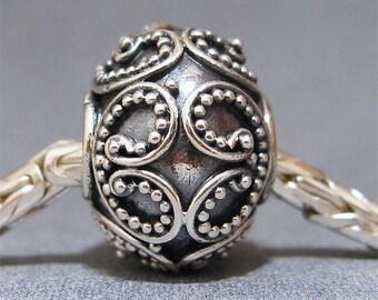 Sterling Silver Slider No. 15 Spacer European Charm Big Hole Bracelet Bead