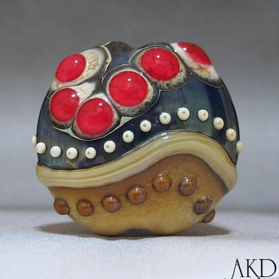 Handmade Lampwork Focal Lentil Bead SRA OOAK Glass Bead AKDesigns Wicked Red Rose