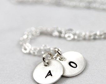 Mother's Day, Necklace dainty initial charms, Initials Necklace, Personalized necklace, All sterling silver, Mom Gift, Sister, Wife Gift