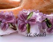 Violet Vodka Floral Garden Handmade Lampwork Glass Bead Set SRA