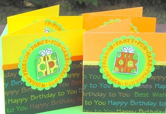 Birthday Mini Cards, 4x4 Orange Yellow Lime Green Accents Presents Happy Birthday Set of 4