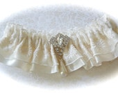 Beaded Lace and Satin Wedding Garter