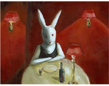 "White Rabbit Art - red restaurant- rabbit art ""Stood Up"" 11  x  17"" print"