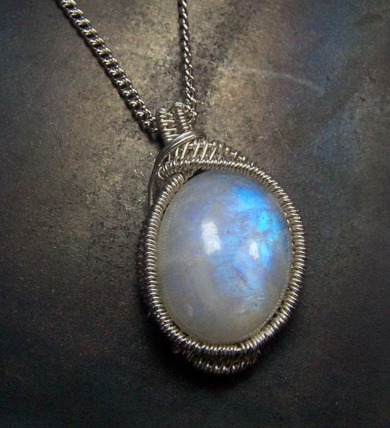 Rainbow Moonstone Necklace Pendant - Sterling Silver - Wire wrap - wrapped - Rainbow Moonstone pendant - cabochon - blue purple fire