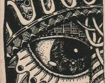 Steampunk Eye tangle wood mounted Rubber Stamp by Mary Vogel Lozinak 18840