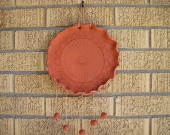 Handmade Earthenware  Pottery Wind Chimes with Sun