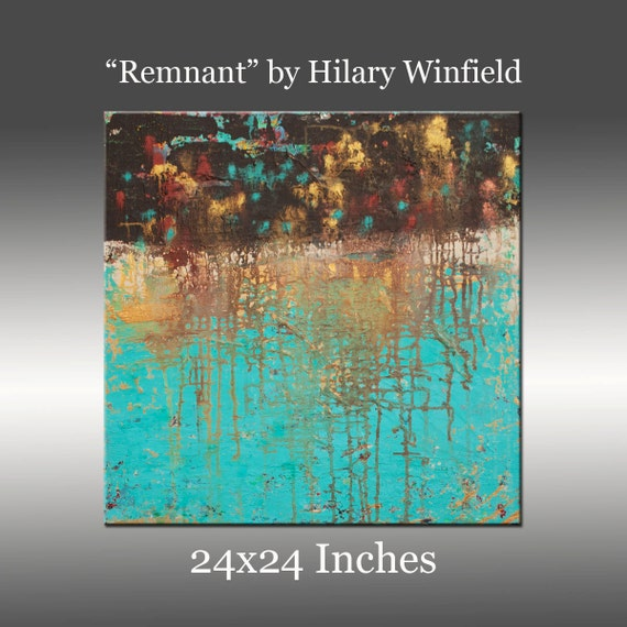 Original Abstract Painting Modern Canvas Wall Art , Acrylic - Title: Remnant by Hilary Winfield - 24x24 Inches