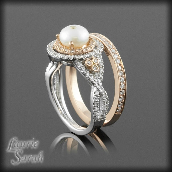 Halo Engagement Ring Pearl Wedding Set in by LaurieSarahDesigns