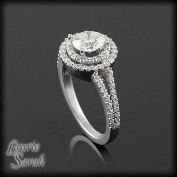 Engagement Ring, Moissanite and Diamond Split Shank Engagement Ring - LS1206