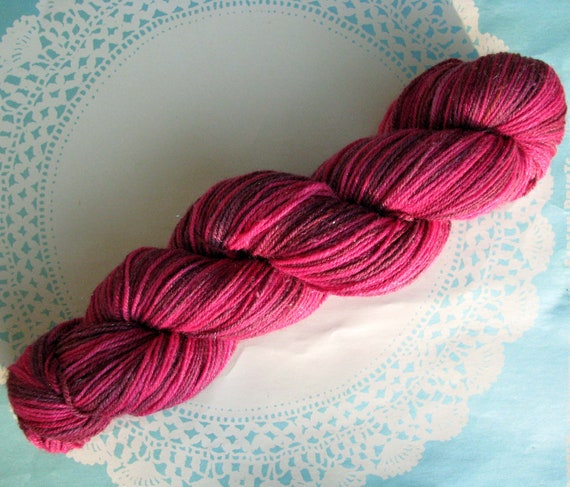 Knitcircus Pixie Dust Fingering Glitter Sock Yarn Handpainted OOAK Color: Berry Patch