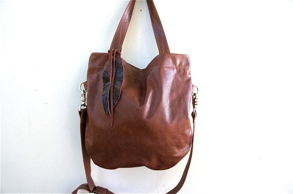 SAMPLE//Agatha Fold Over in Chestnut Brown Leather with Clip On Adjustable Strap