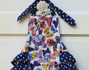 Butterflies & Dots Baby Ruffle Romper  18M Ready to ship