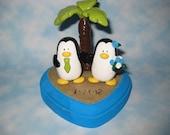 Custom Order - Penguins Gettin' Hitched - Beach Theme