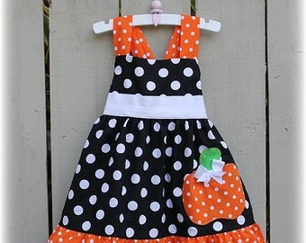 Custom Boutique Black White Orange Polka Dot Pumpkin  Halloween Girls Jumper Dress