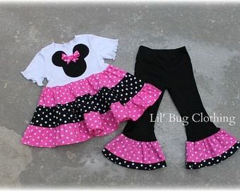 Custom Boutique Clothing Hot Pink  Minnie Mouse Girl Tiered Top and Leggings