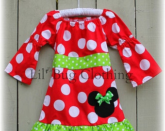 Custom Minnie Mouse Christmas Lime  and Red  Fall Girls Peasant Dress