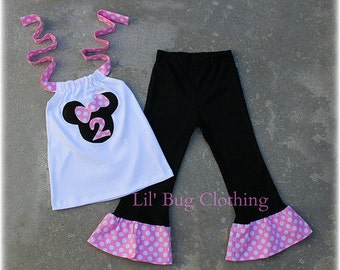 ON SALE NOW Custom Minnie Mouse Bubble Gum Pink and Black White Polka Dot Halter Top And Knit Pant