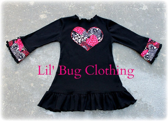 Custom Boutique Clothing Valentines Day Animal Print Black Knit Dress 12 18 24 2t 3t 4t 5t 6 7 8 9 10  girl