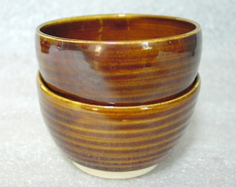 Set of Two Beautiful Wheel Thrown Amber Pottery Tea Bowls