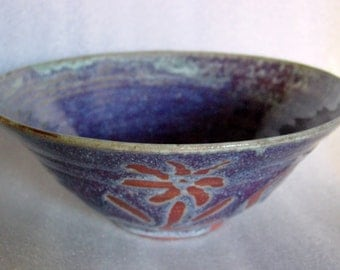 Purple and Blue Wheel Thrown Flared Bowl with Wax Resist Decoration