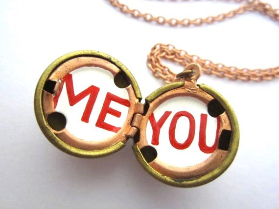 Oil Painted Locket Necklace in Bright Red and White - ME and YOU - Lover Gift for Girlfriend or Wife