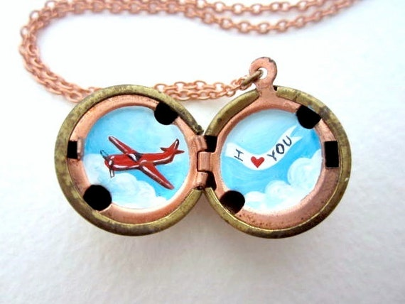 I Love You Locket - Hand-Painted Bright Red Airplane Flying through a Blue Sky with Banner