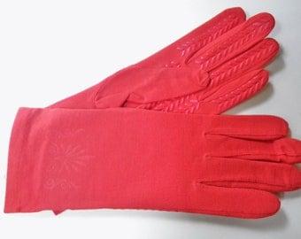 Red Gloves Deadstock Womens Vintage 80s Red Orange