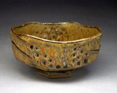 Faceted Stoneware Tea Bowl With Impressed Shell Design (Chawan)