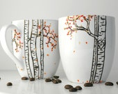 Autumn Aspen Forest - 2 Large Personalized Mugs - Hand Painted Mug, Custom Mug, Fall Coffee Mug