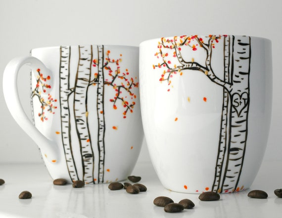 Autumn Aspen Forest - 2 Large Personalized Mugs - Hand Painted Mug, Custom Mug