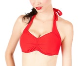 CHEEKY Red Retro Inspired Bikini Top Size S, M, XL