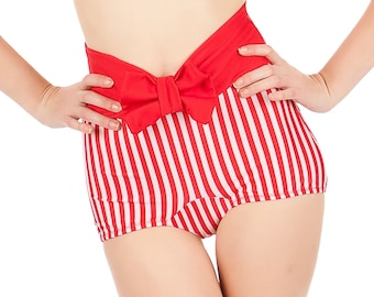 KANDY Red and White Stripes Bottom With Bow Sizes  XL