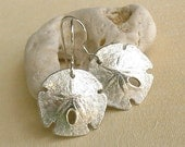 Sand Dollar Earrings - Sterling Silver - Sea Biscuit - Nautical - Beach Inspired - Organic - Beach Wedding - Cottage Chic - Shell Earrings