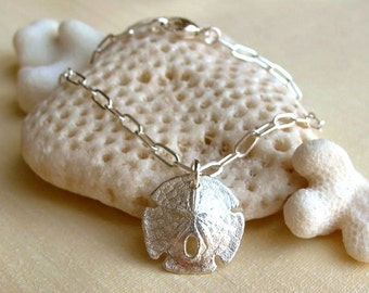 Sand Dollar Bracelet - Sterling Silver - Nautical - Sea Biscuit - Detailed - Shell Bracelet - Beach Jewelry - Silver Shell Bracelet - Summer