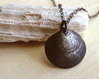 Shell Necklace - Black - Sterling Silver - Half Shell - Nature Inspired - Oxidized - Rustic - Beach - Organic - Shell Charm - Charm Necklace