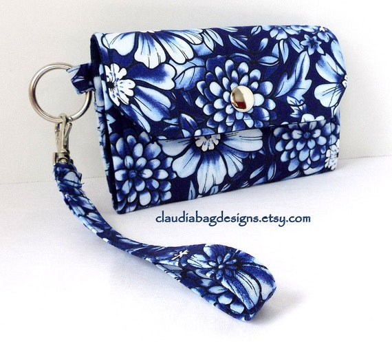 Cell Phone Wallet - Cell Phone Holder - Case - Wristlet (Blue Floral)